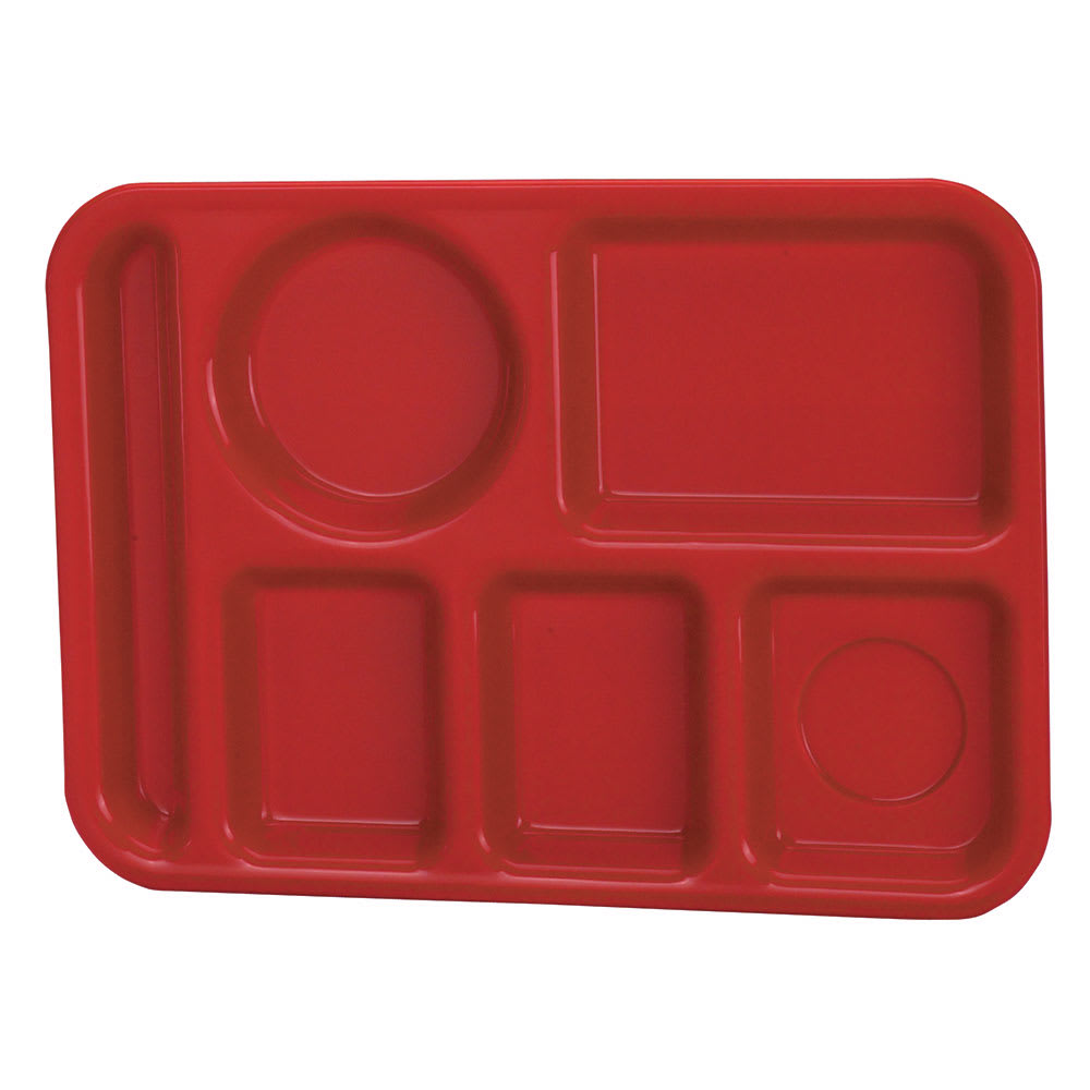 "Vollrath 2614-02 School Compartment Tray - Left Hand, 9-3/4x13-3/4"", Red"