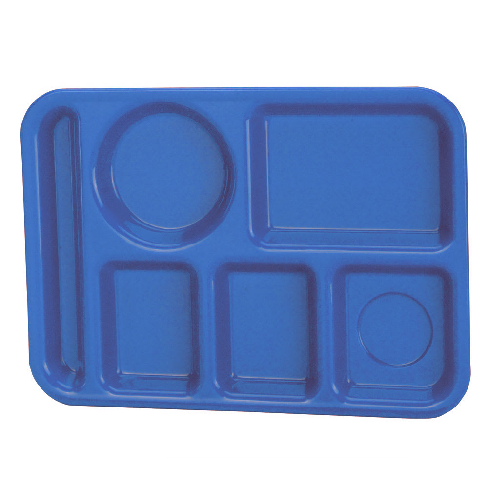 "Vollrath 2614-04 School Compartment Tray - Left Hand, 9 3/4x13 3/4"", Blue"