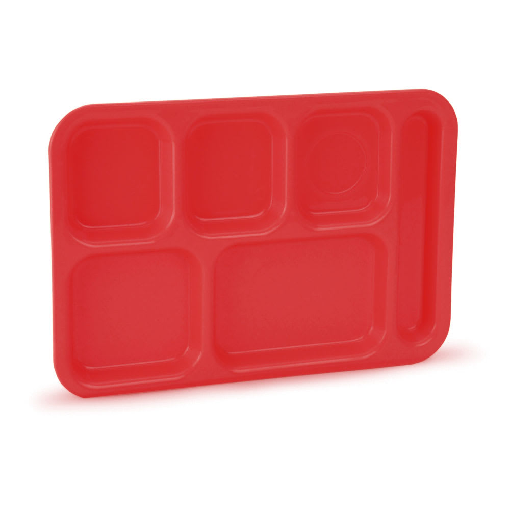 "Vollrath 2615-02 School Compartment Tray - Right Hand, 9 3/4x13 3/4"", Red"