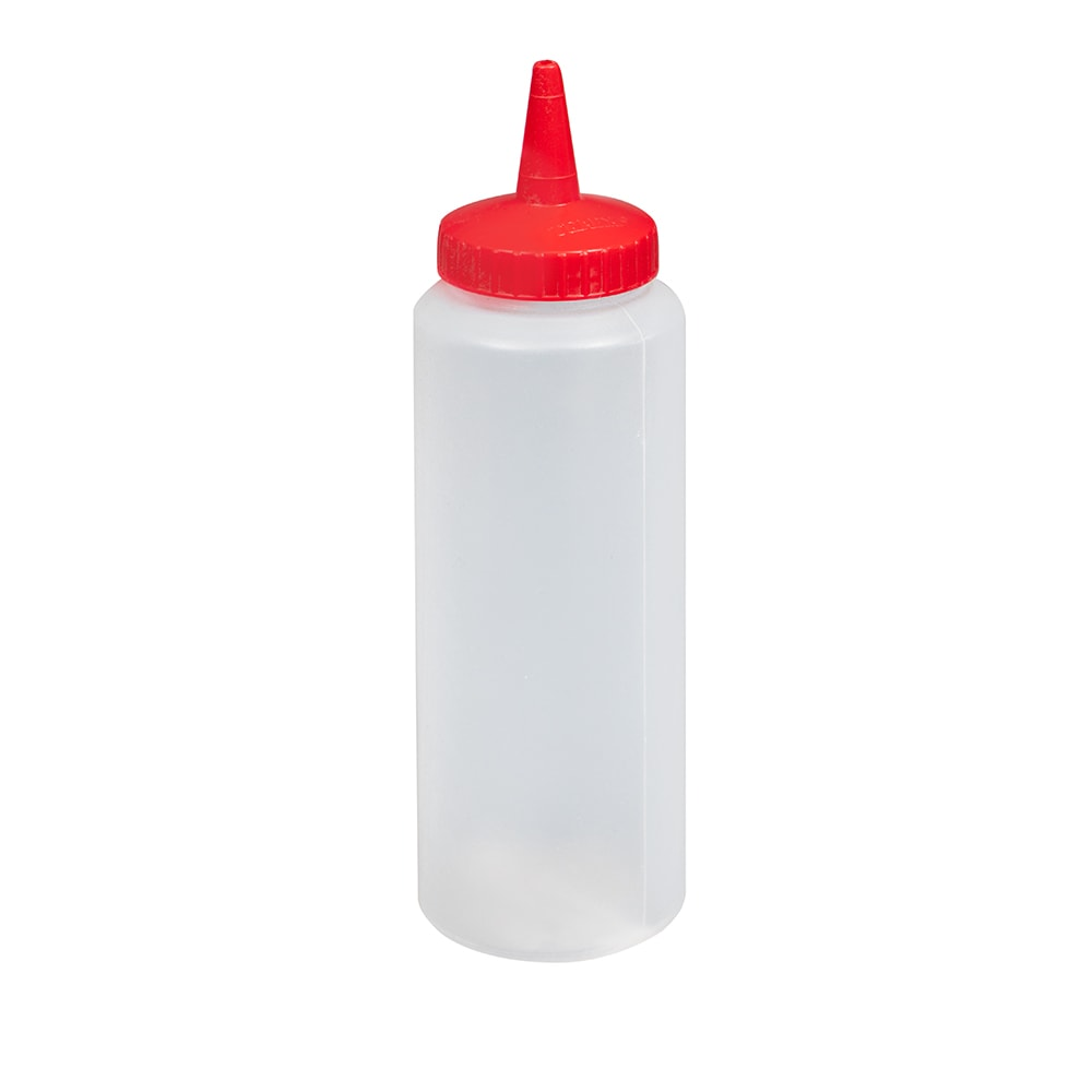 Vollrath 2808-1302 8 oz Squeeze Dispenser - Red Cap, Clear