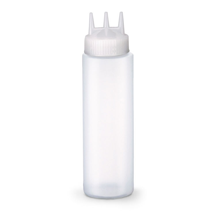 Vollrath 3324RSK-13 24 oz Squeeze Dispenser with Funnel - Wide Mouth, Clear Cap, Clear