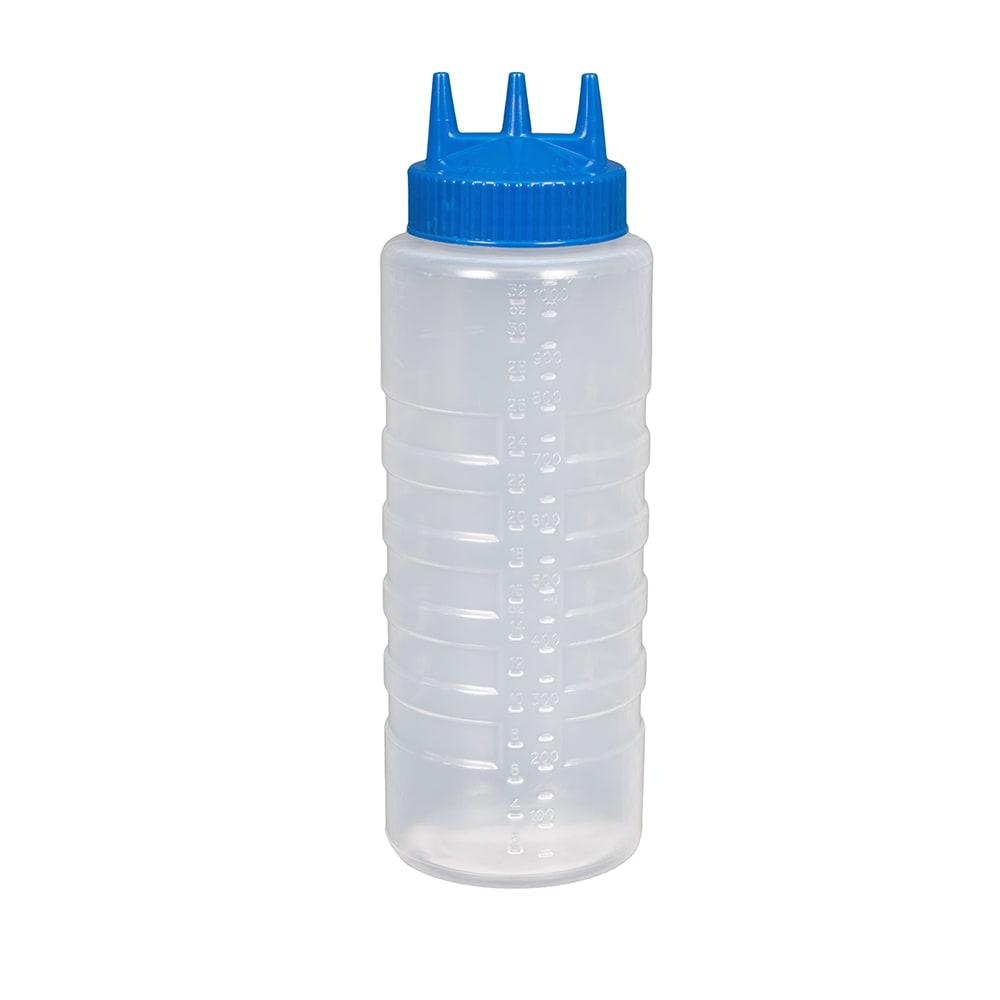 Vollrath 3332-1344 32 oz Squeeze Dispenser - Wide Mouth, Blue Cap, Clear
