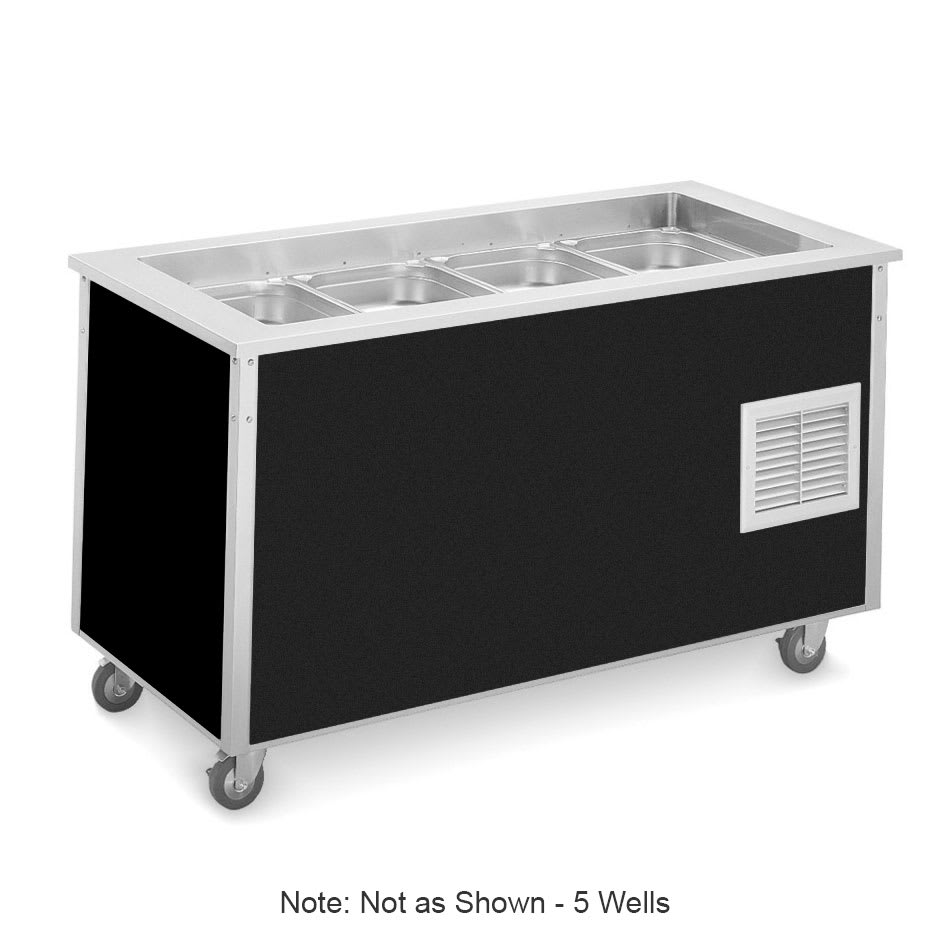 "Vollrath 36176 Refrigerated Cold Food Bar - 5 Full Size Pan 6"" Deep Wells, 30x74x28, Black"