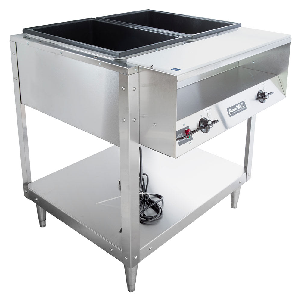 Vollrath 38002 2-Well Hot Food Table - Thermostat, Plate Rest, Cutting Board, 120v
