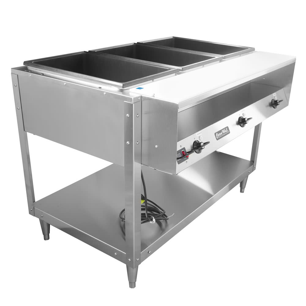 Vollrath 38003 3 Well Hot Food Table - Thermostat, Plate Rest, Cutting Board, 120v