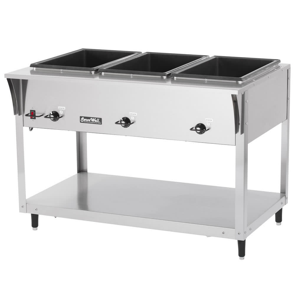 Vollrath 38213 3-Well Hot Food Table - (3) Thermostat, Drain 700W 120v