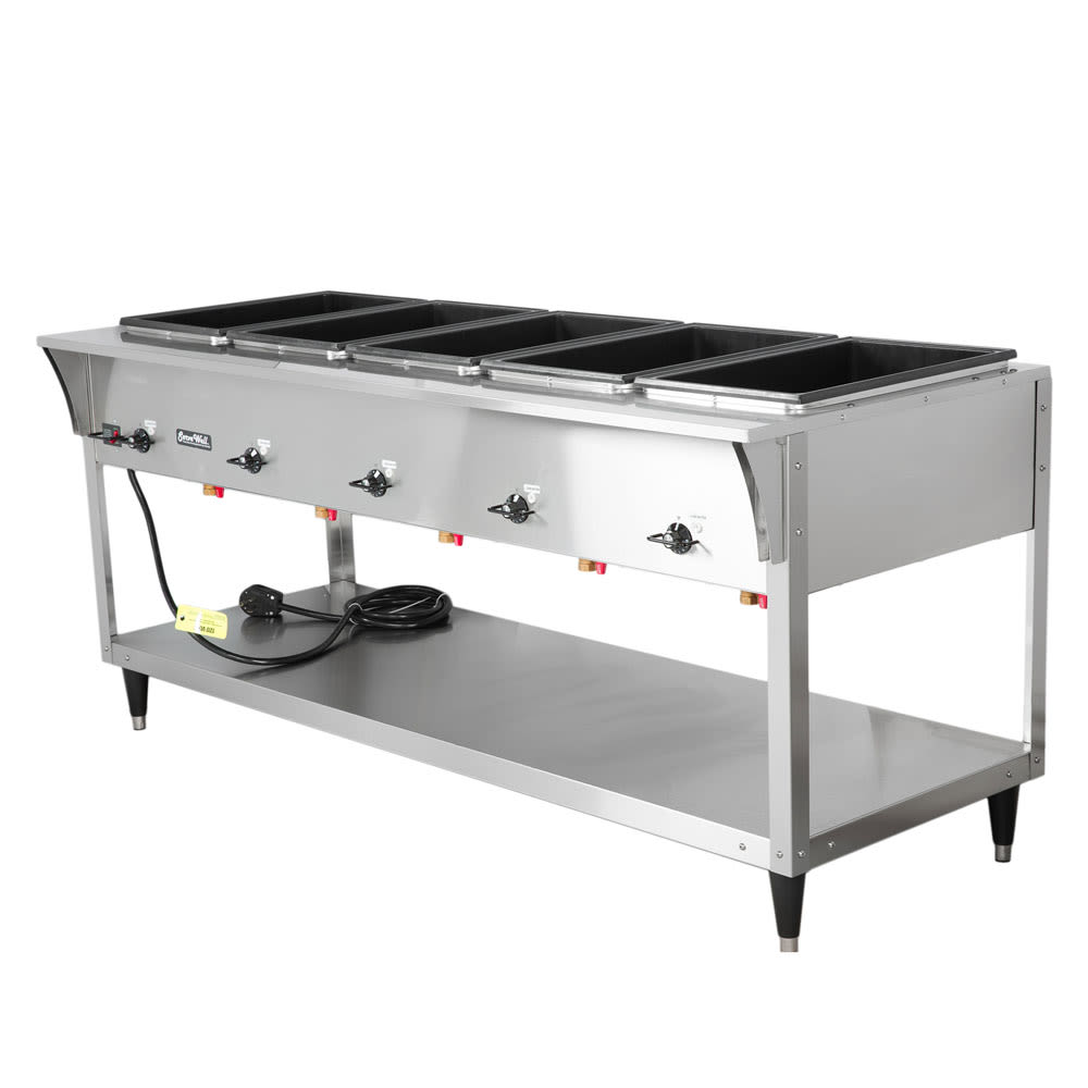 Vollrath 38215 5 Well Hot Food Table - (5) Thermostat, Drain 700W 120v