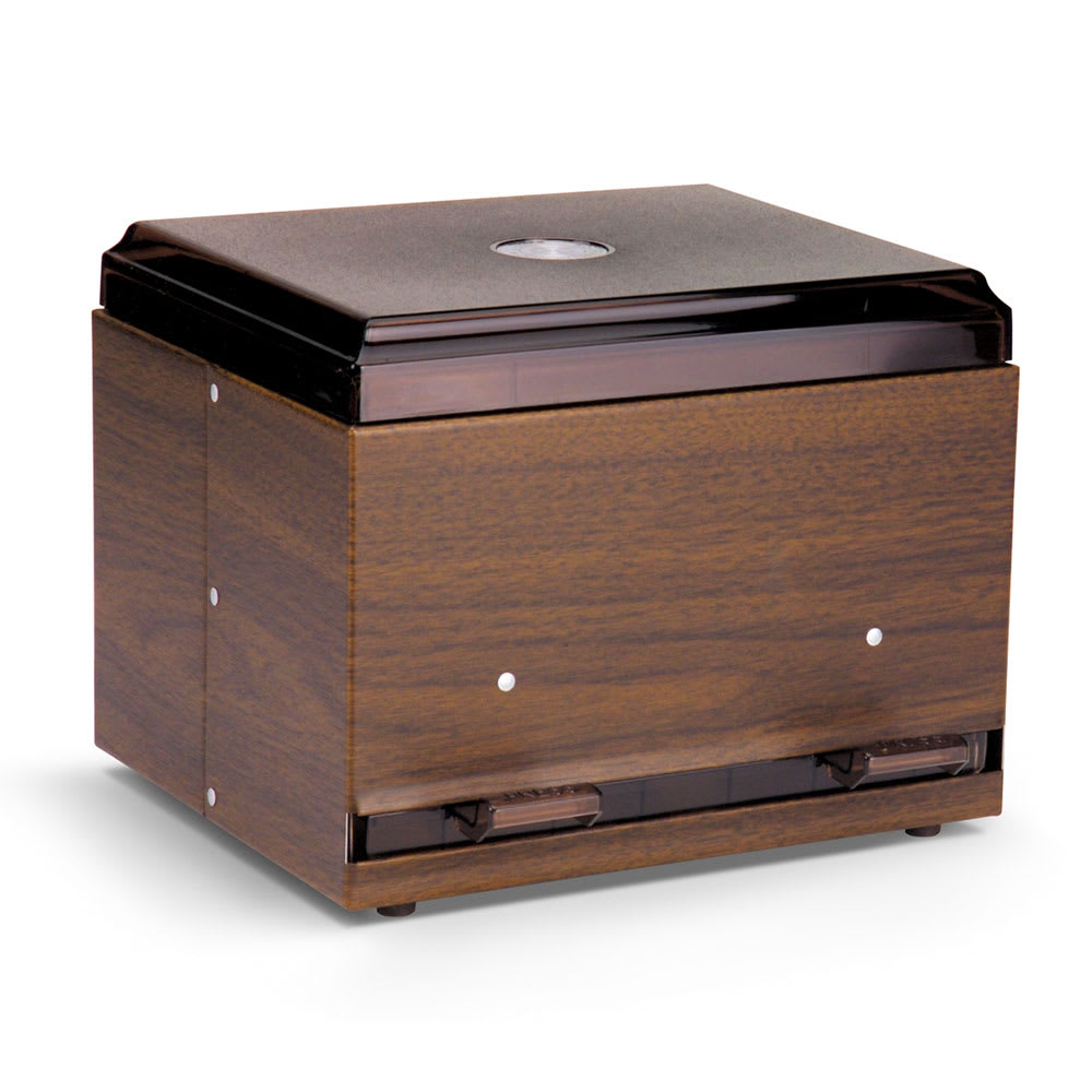 "Vollrath 3845-12 Double-Side Giant Straw Dispenser - 500 Capacity, 9x7-1/2x7"" Walnut Woodgrain"