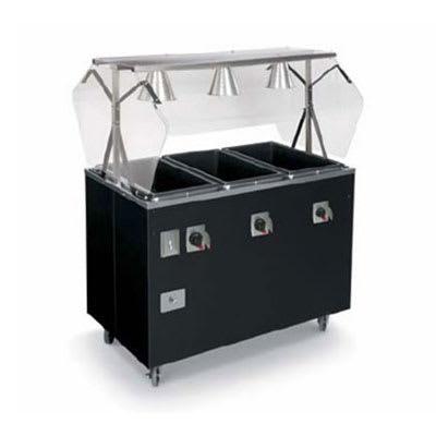 Vollrath 3870746 3-Well Hot Food Station - Lights, Breath Guard, Solid Base, Black 120v