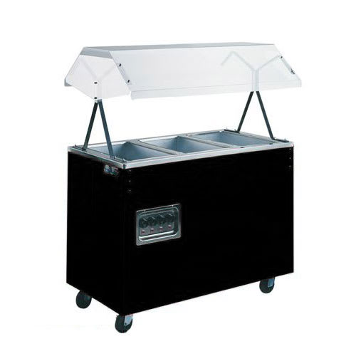 Vollrath 38708 3 Well Hot Food Station - Breath Guard, Open Base, Black 120v