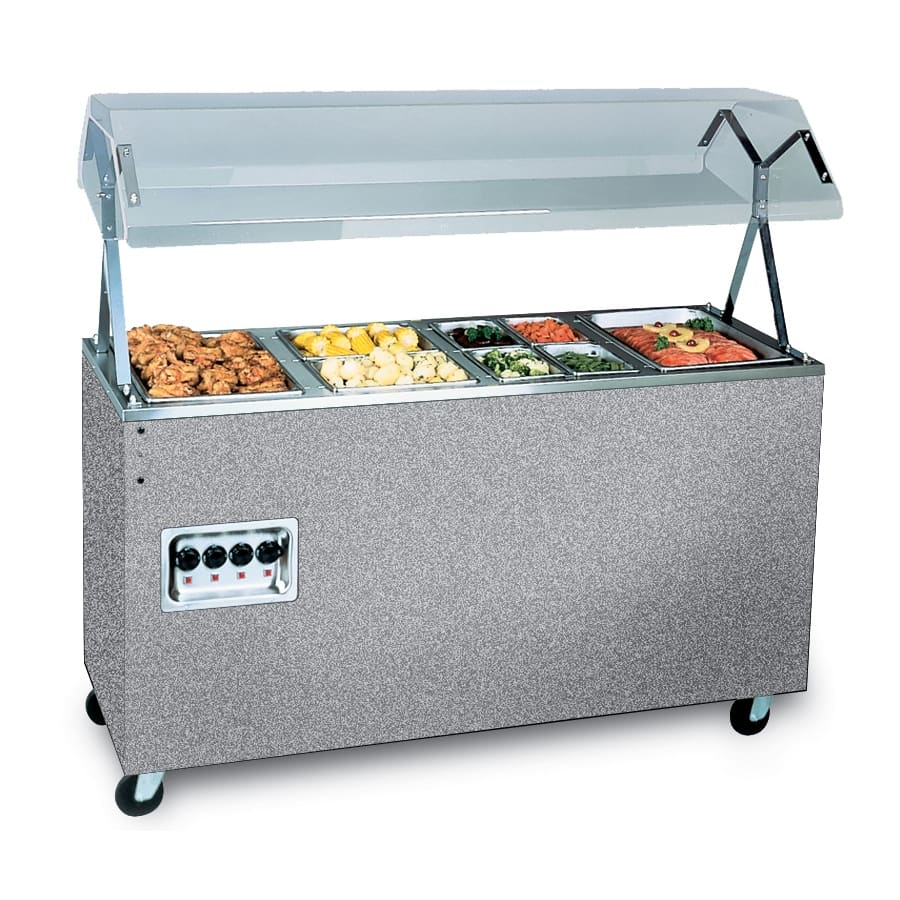 "Vollrath 3871160 4 Well Hot Food Station - Lights, Breath Guard, Open Base, 60x24x57"" Black 120v"