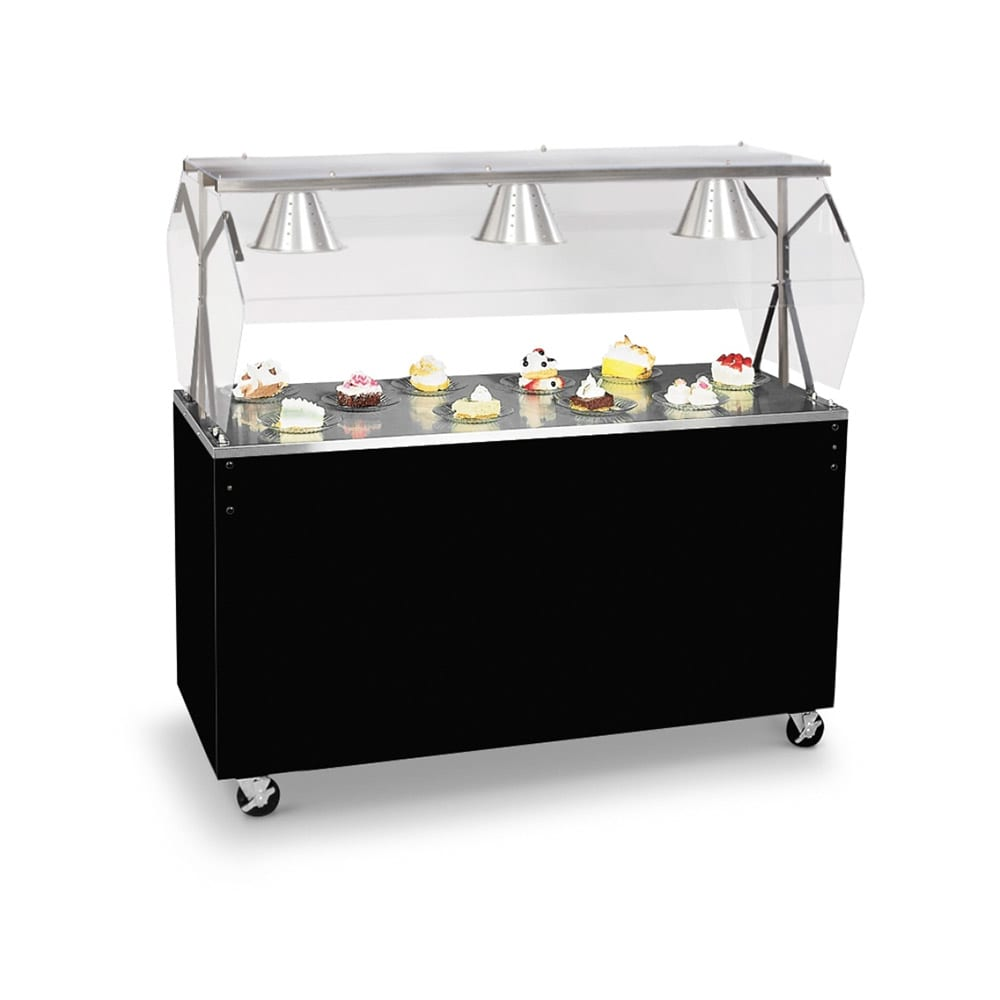 Vollrath 38713 3 Well Cold Food Station - Breath Guard, Non-Refrigerated, Black Solid Base