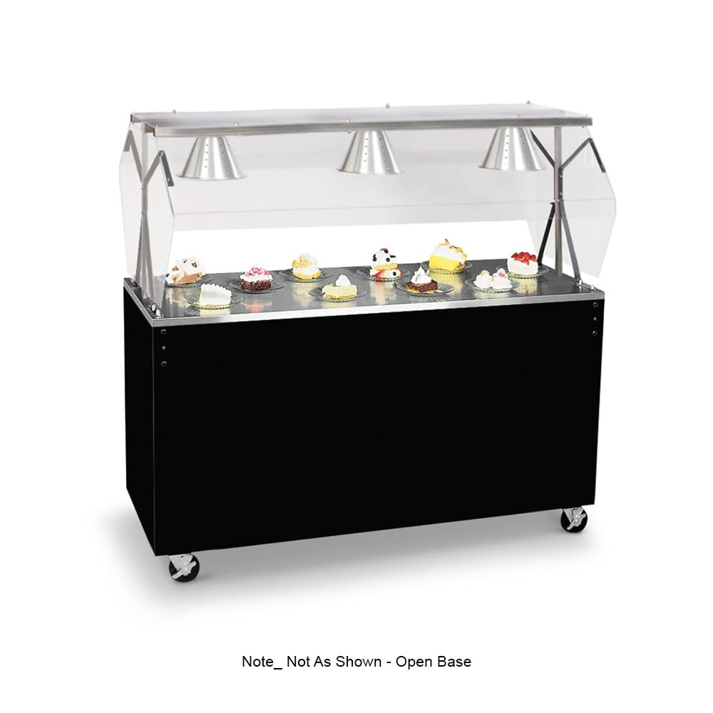 Vollrath 38717 4 Well Cold Food Station - Breath Guard, Non-Refrigerated, Black Open Base