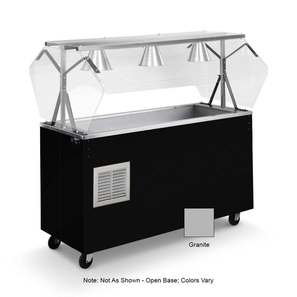 Vollrath 38734 3 Well Cold Food Station - Breath Guard, Non-Refrigerated, Open Base, Granite