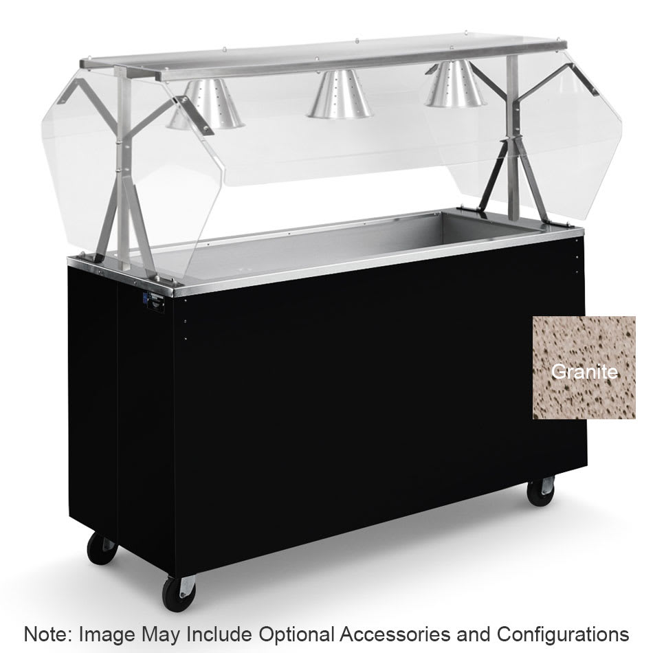 Vollrath 3873546 3 Well Cold Food Station - Lights, Guard, Non-Refrigerated, Storage Base, Granite