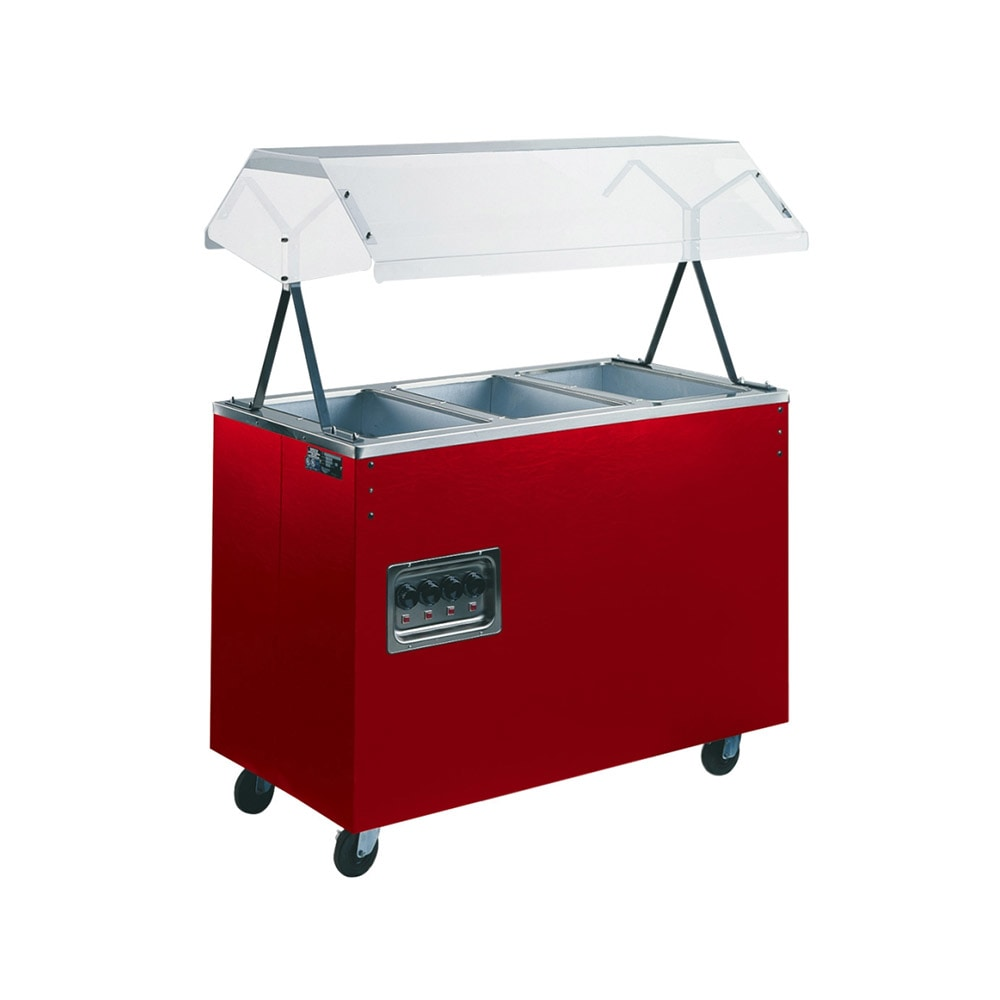 Vollrath 38767 3 Well Hot Food Station - Breath Guard, Solid Base, Cherry 120v