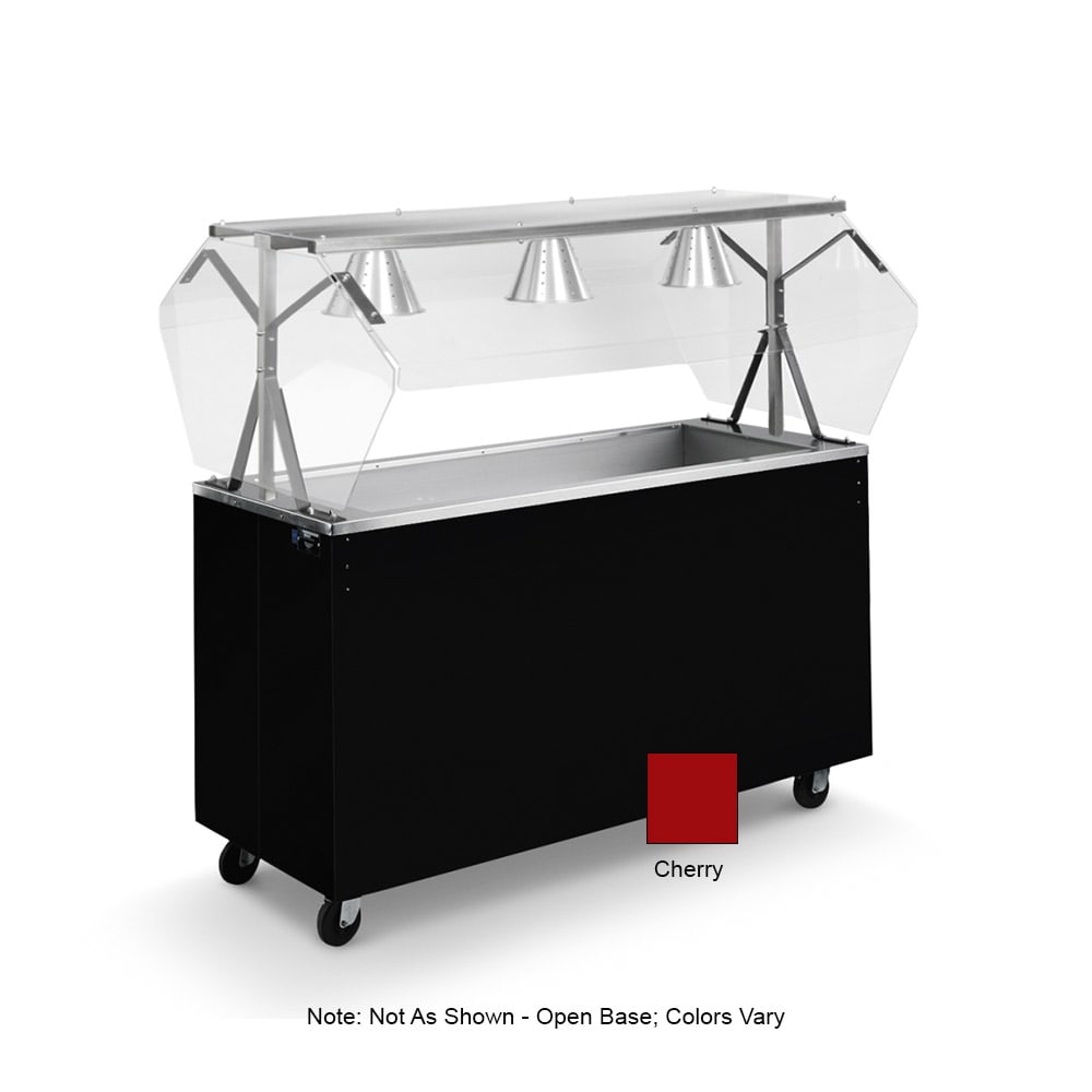 Vollrath 38774 3 Well Cold Food Station - Breath Guard, Non-Refrigerated, Open Base, Cherry