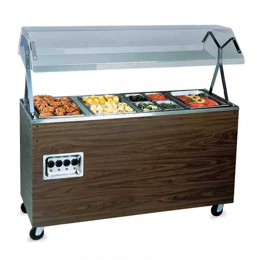 Vollrath 3893746 3-Well Hot Food Station - Lights, Breath Guard, Storage Base, Walnut 120v