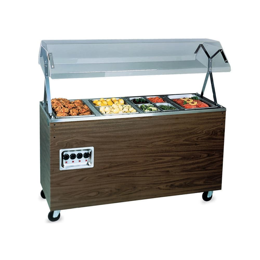 "Vollrath 38945 4 Well Hot Food Station - Breath Guard, Solid Base, 60x24x57"" Walnut 120v"