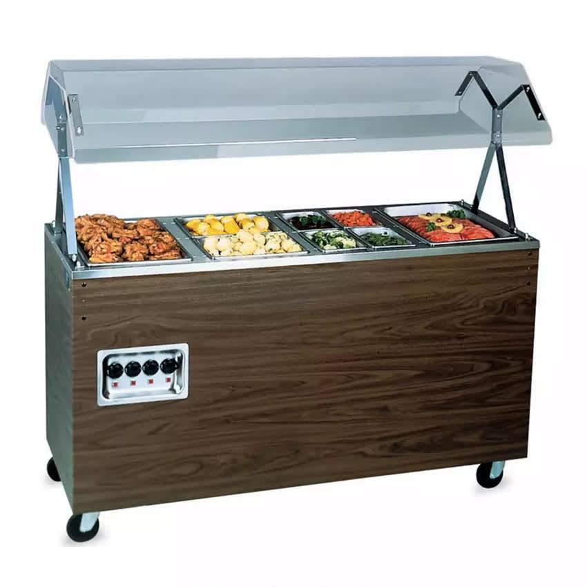 "Vollrath 3894660 4 Well Hot Food Station - Lights, Guard, Open Base, 60x24x57"" Walnut 120v"