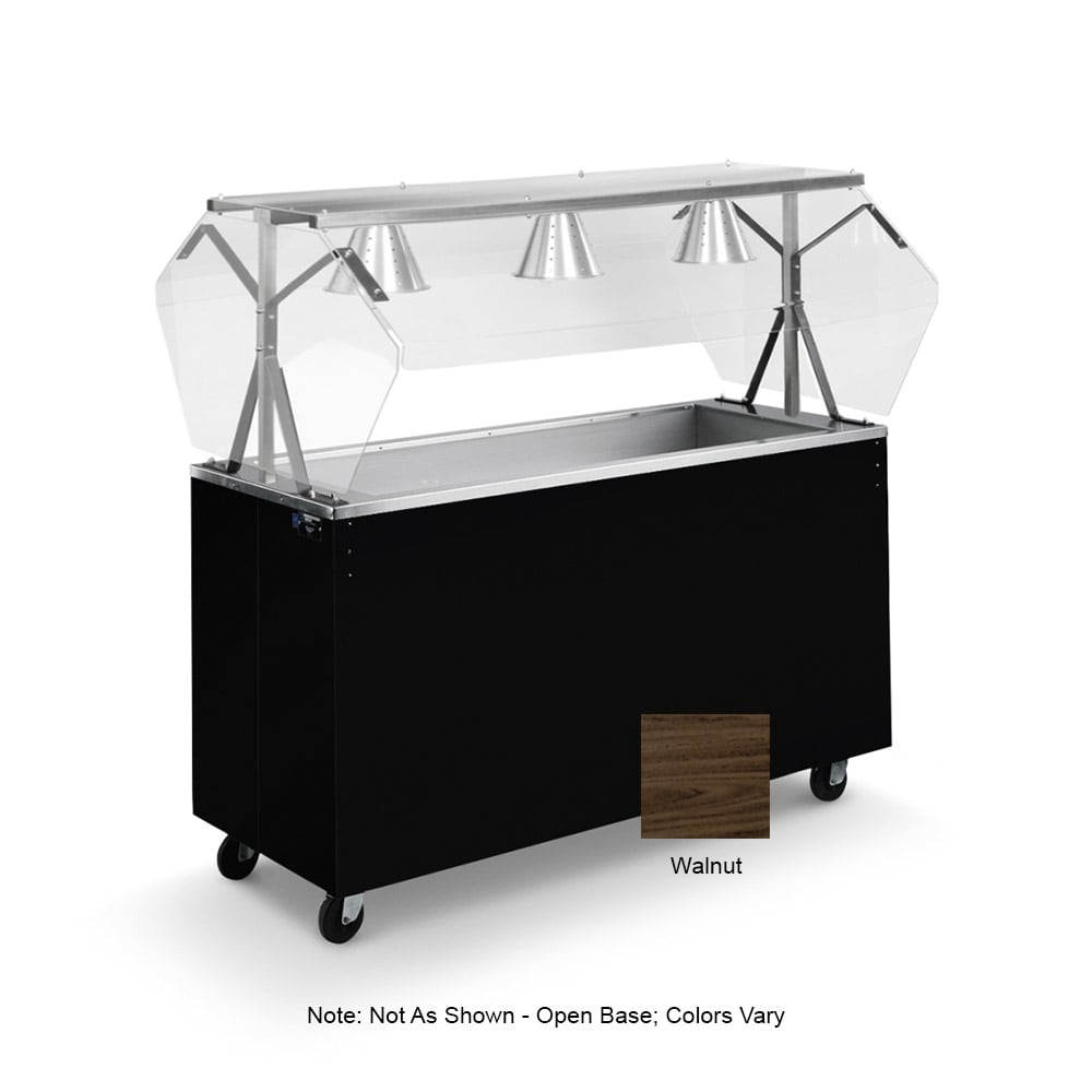 Vollrath 38951 3-Well Cold Food Station - Breath Guard, Non-Refrigerated, Open Base, Walnut