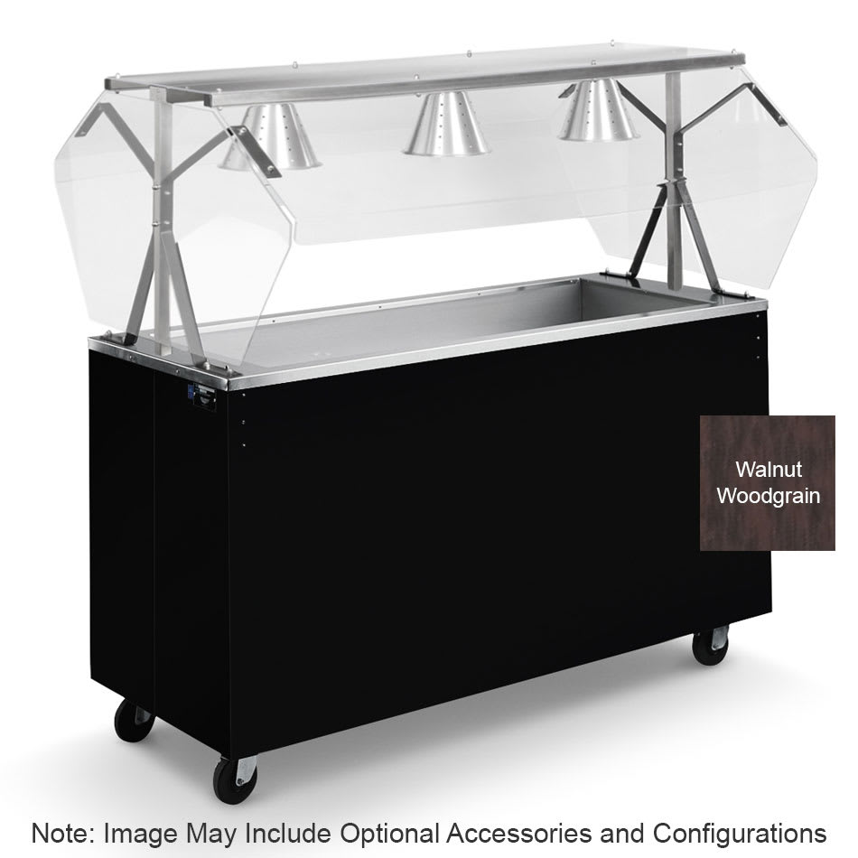 Vollrath 3895146 3 Well Cold Food Station - Lights, Guard, Non-Refrigerated, Open Base, Walnut