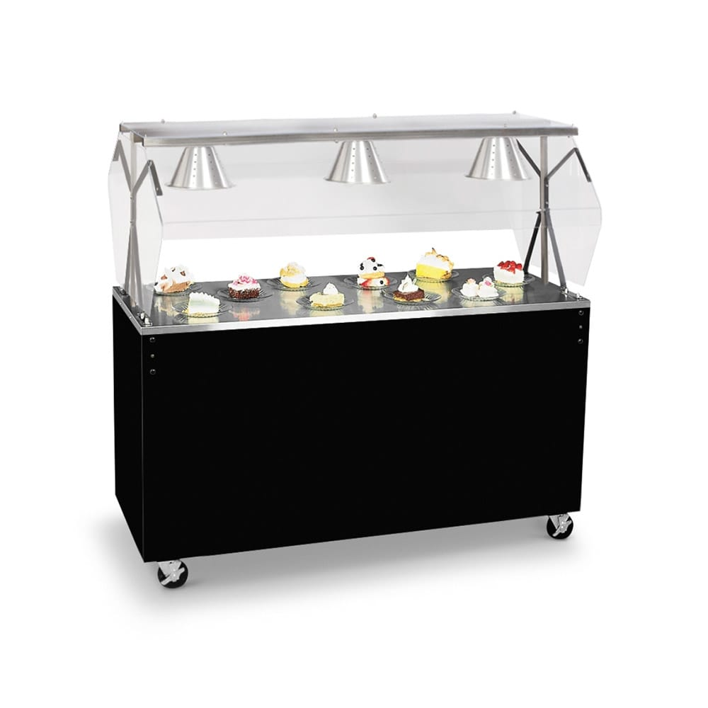 "Vollrath 39703 46"" Utility Station - Cafeteria Breath Guard, Storage Base, Black"