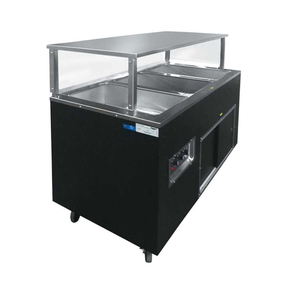 Vollrath 39707 3 Well Hot Cafeteria Unit - Solid Base, Black 120v