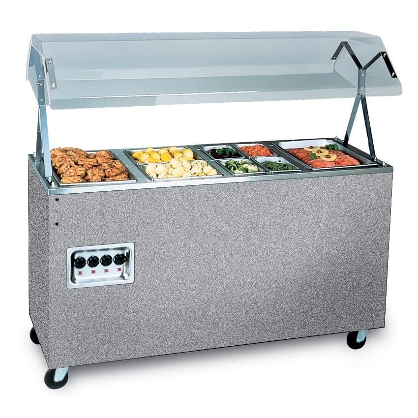 Vollrath 39710 4-Well Hot Cafeteria Unit - Solid Base, Black 120v