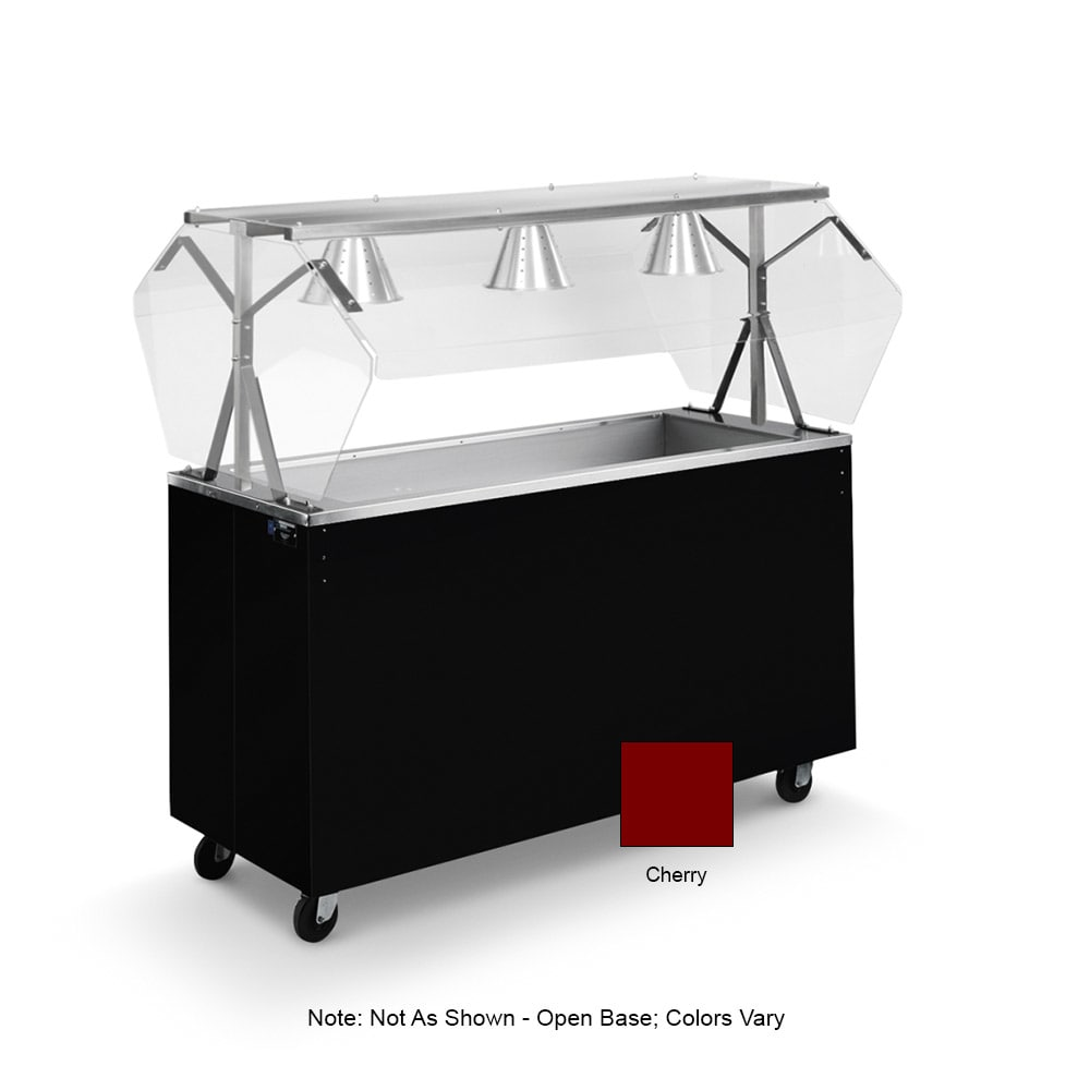 Vollrath 39777 4-Well Cold Cafeteria Unit - Non-Refrigerated, Open Base, Cherry