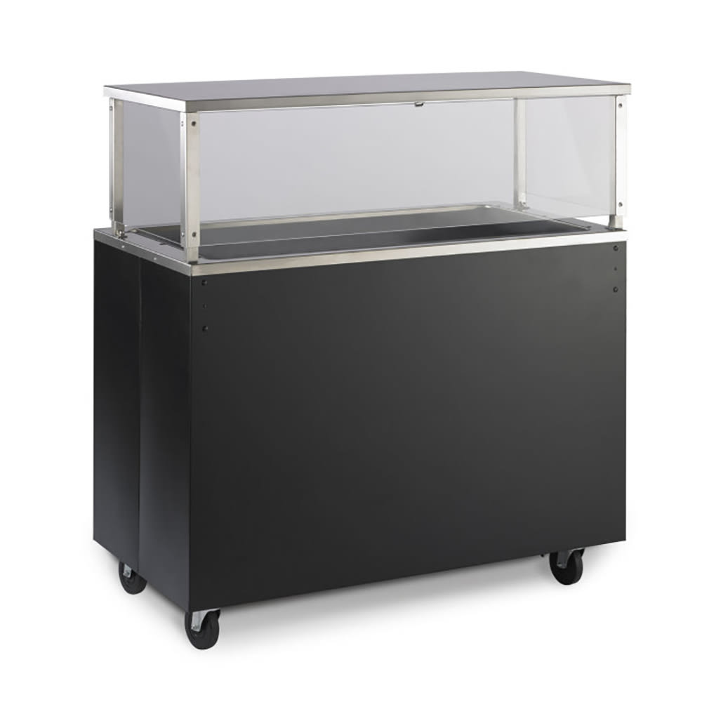 Vollrath 39959 4 Well Cold Cafeteria Unit - Non-Refrigerated, Solid Base, Walnut