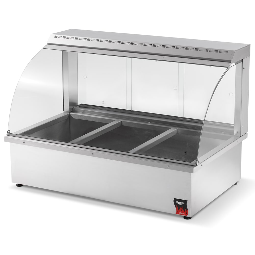 "Vollrath 40732 43"" Full-Service Countertop Heated Display Case w/ Curved Glass - (3) Pan Capacity, 110v"