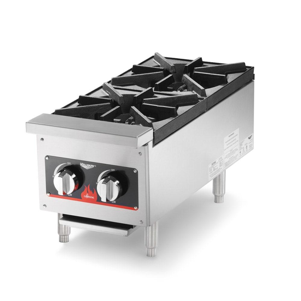 "Vollrath 40736 12"" Gas Hotplate w/ (2) Burners & Manual Controls"