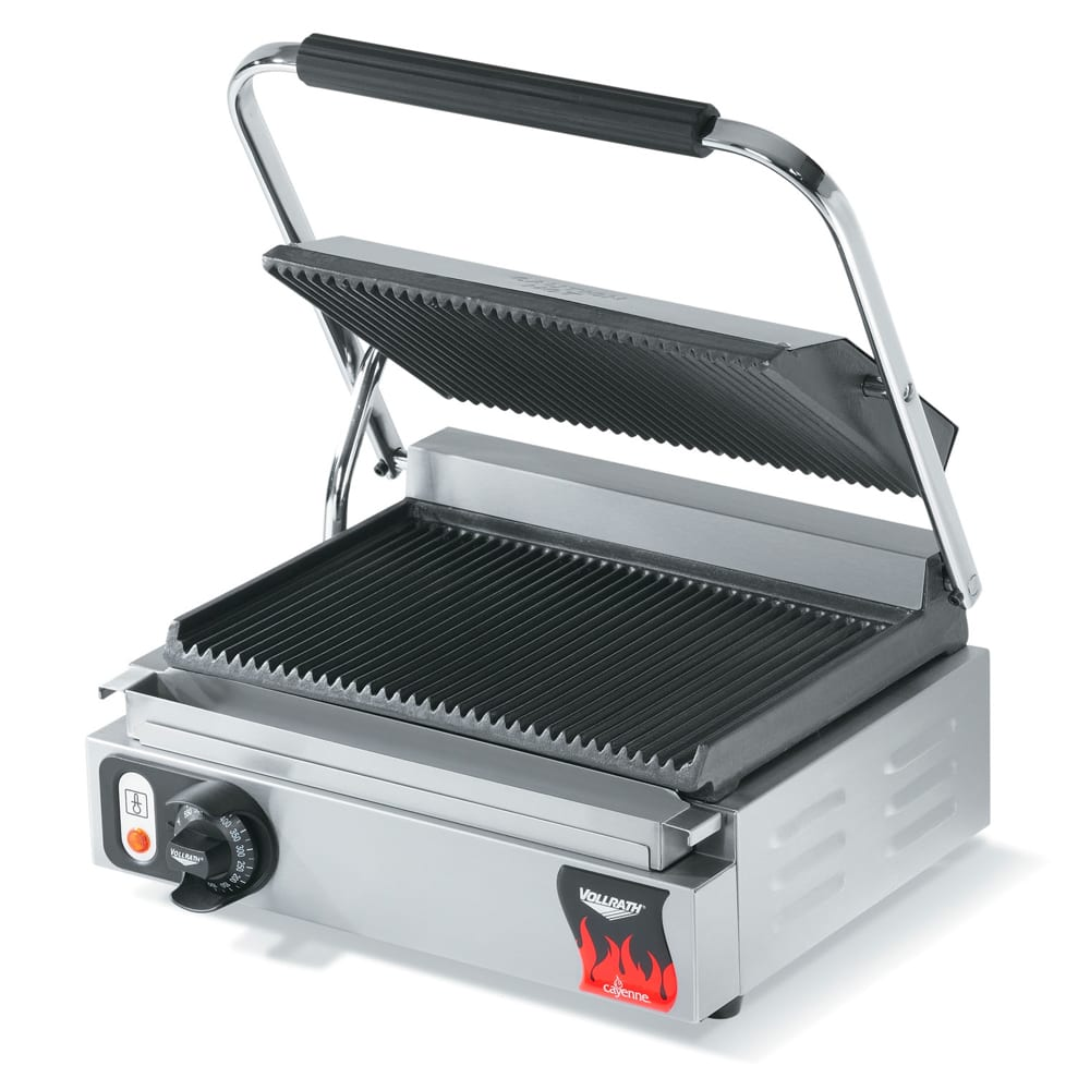Vollrath 40794 Commercial Panini Press w/ Cast Iron Grooved Plates, 120v