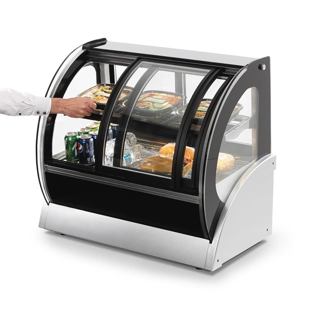 """Vollrath 40883 36"""" Self-Service Countertop Heated Display Case w/ Curved Glass - (2) Levels, 120v"""