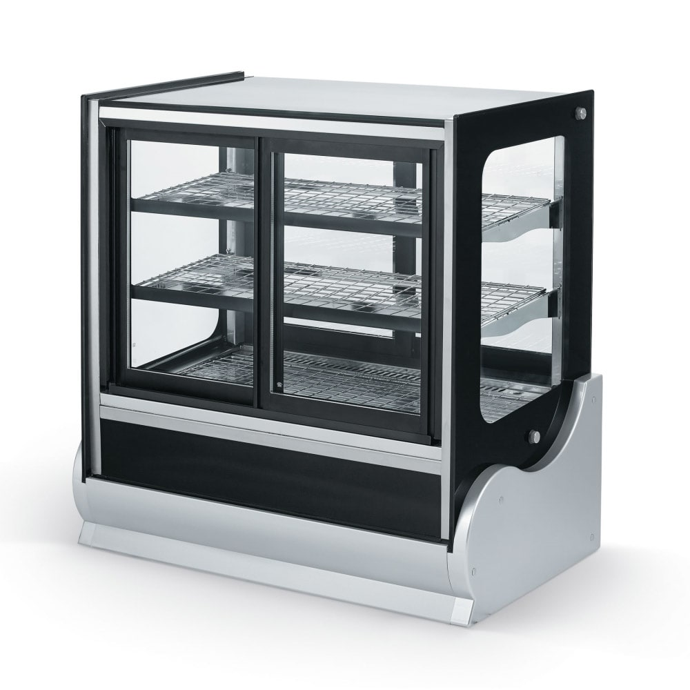 "Vollrath 40890 36"" Self-Service Countertop Heated Display Case w/ Straight Glass - (3) Levels, 120v"