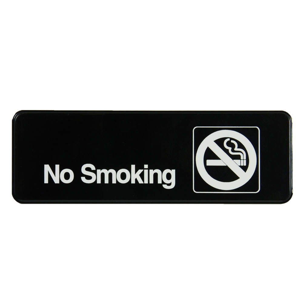 "Vollrath 4513 No Smoking Sign - 3x9"" White on Black"