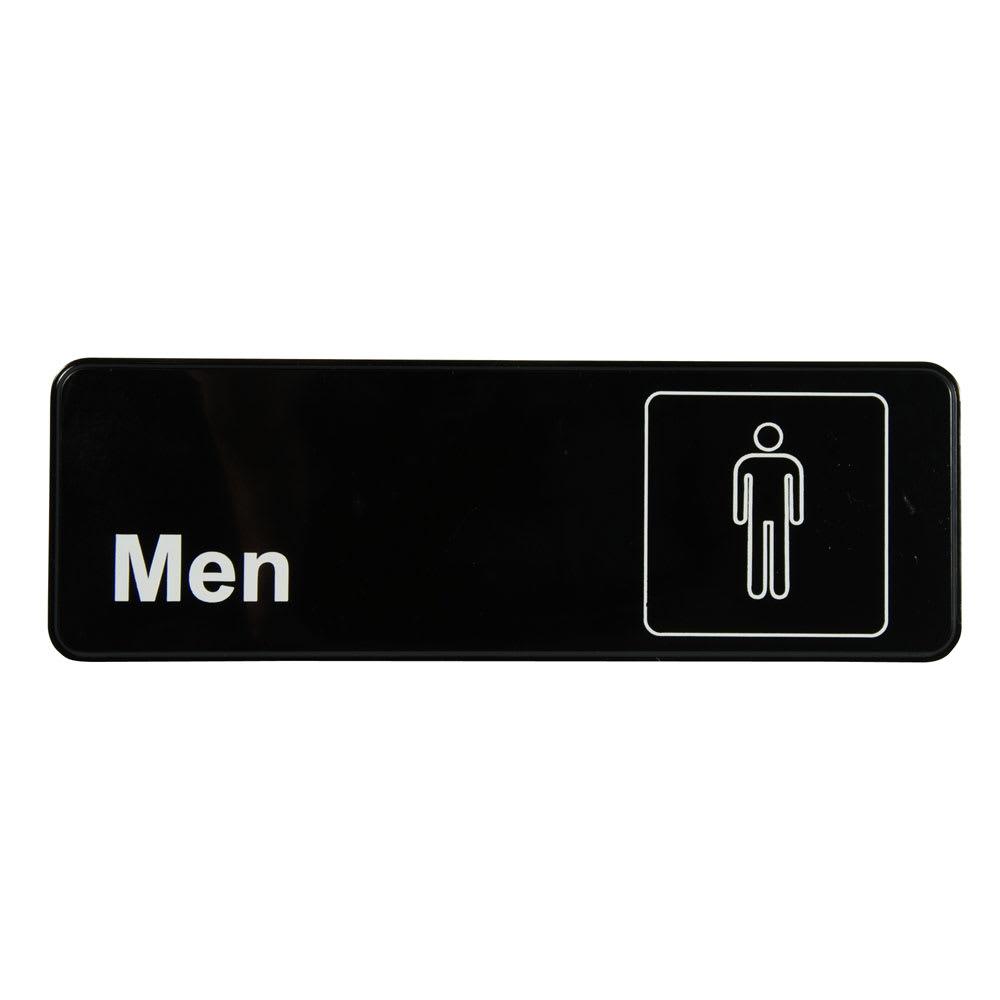 "Vollrath 4515 Men Sign - 3x9"" White on Black"