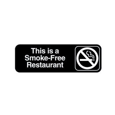 "Vollrath 4524 Smoke-Free Restaurant Sign - 3x9"" White on Black"