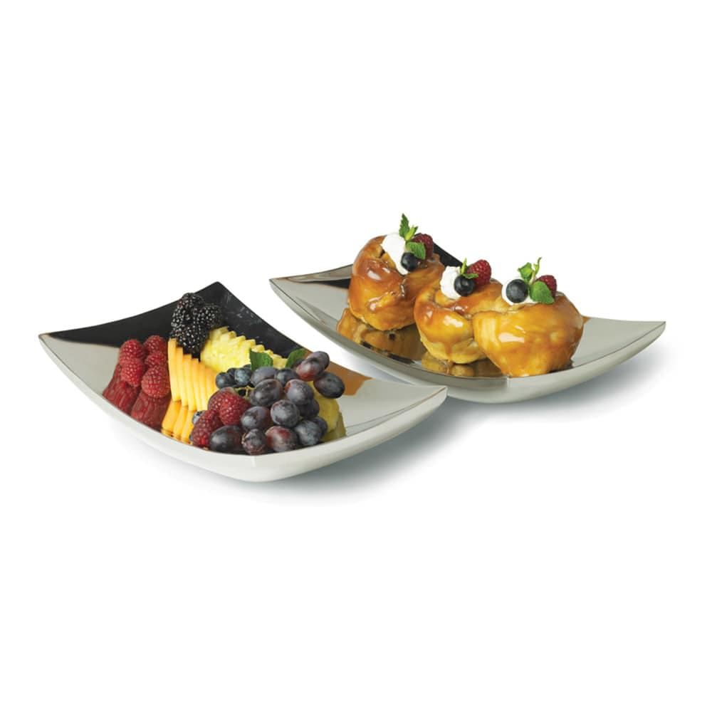 """Vollrath 46221 7 1/2"""" Square Curved Double-Wall Platter - Stainless"""