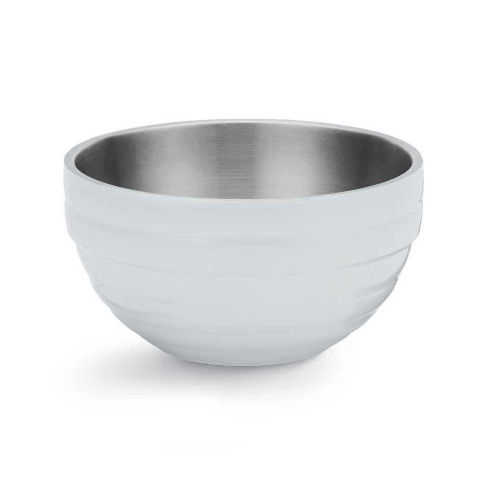 Vollrath 4656950 10.1 qt Round Insulated Bowl - Stainless, Pearl White