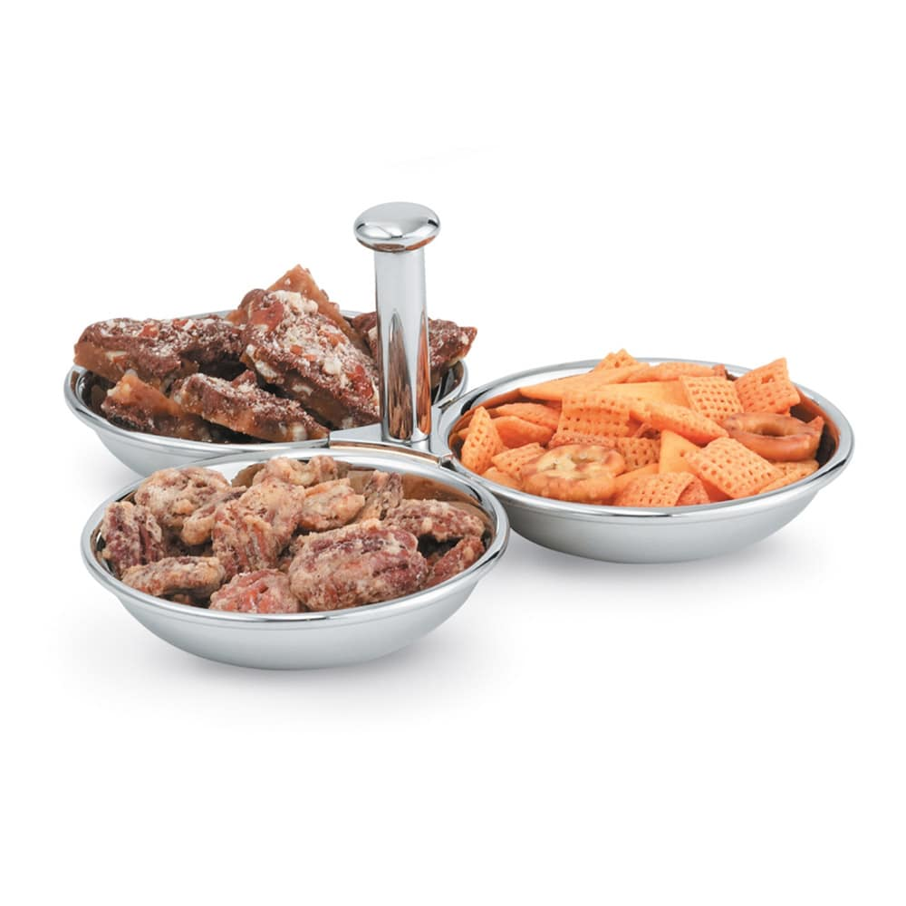 Vollrath 46636 3 Compartment Condiment Server - 12 oz Capacity, Mirror-Finish Stainless