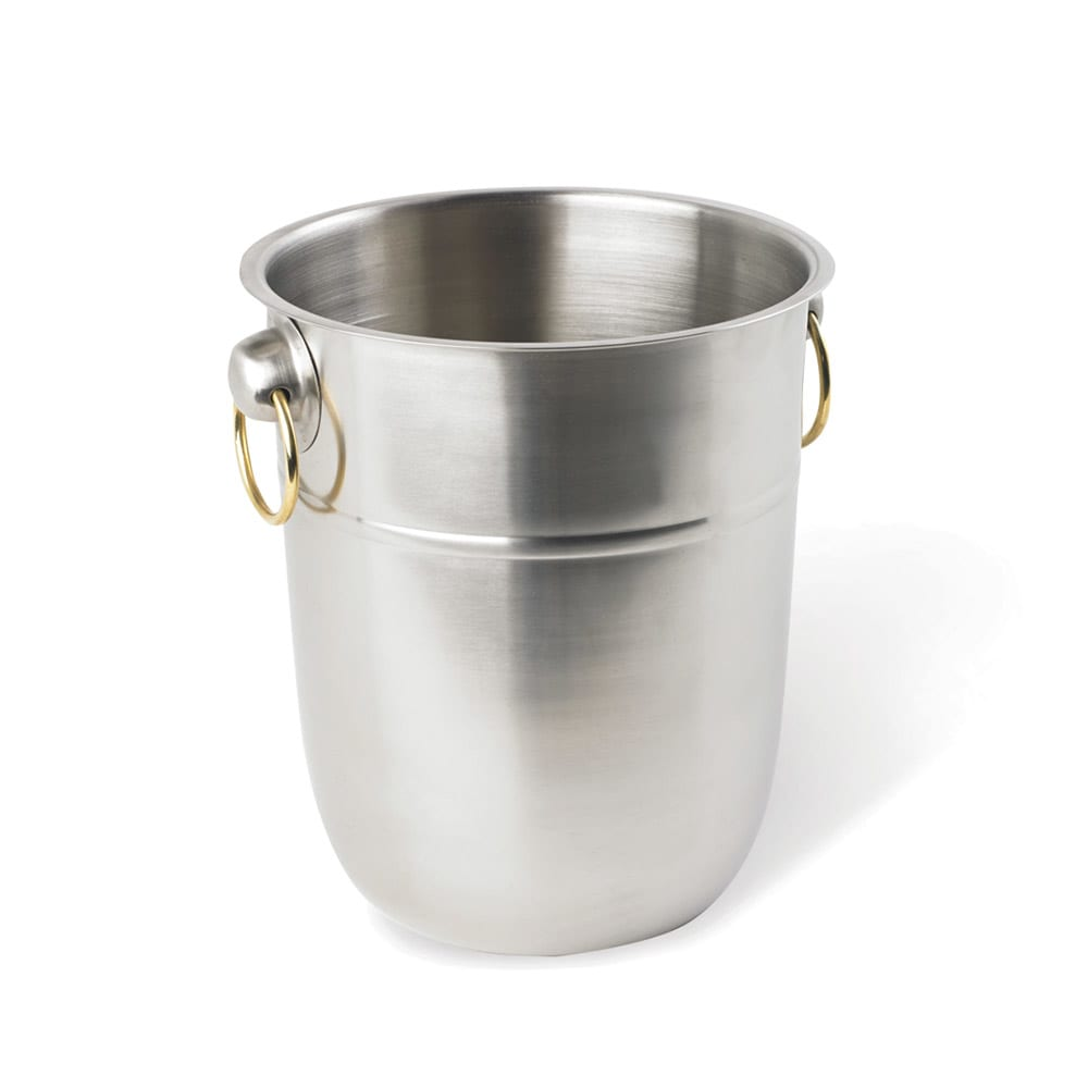 Vollrath 46801 8 qt Wine Bucket - Brass Ring Handles, Stainless