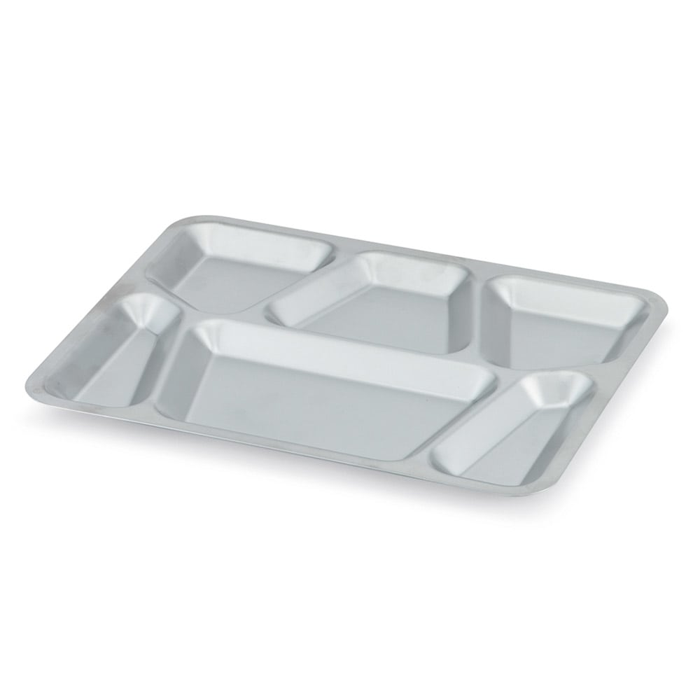 "Vollrath 47252 Six-Compartment Mess Tray with Lugs - 15 1/2x11 5/8"" Stainless"