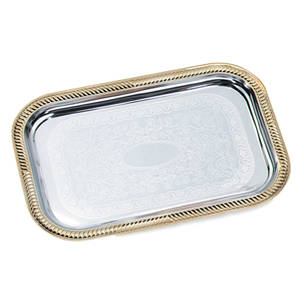 "Vollrath 47260 Rectangular Serving Tray - Brass Accent, 18 1/4x12 1/3"" Chrome"