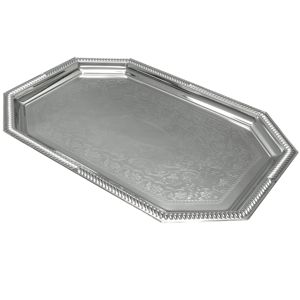 "Vollrath 47263 Octagon Serving Tray - 20x13 3/4"" Chrome Plated"