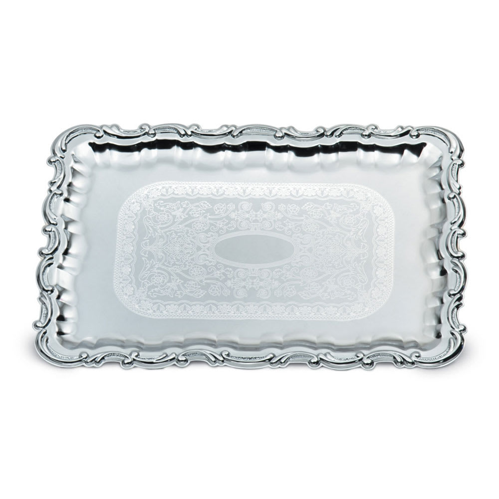 "Vollrath 47267 Rectangular Serving Tray - Victorian Accent, 21 3/4x15"" Chrome"