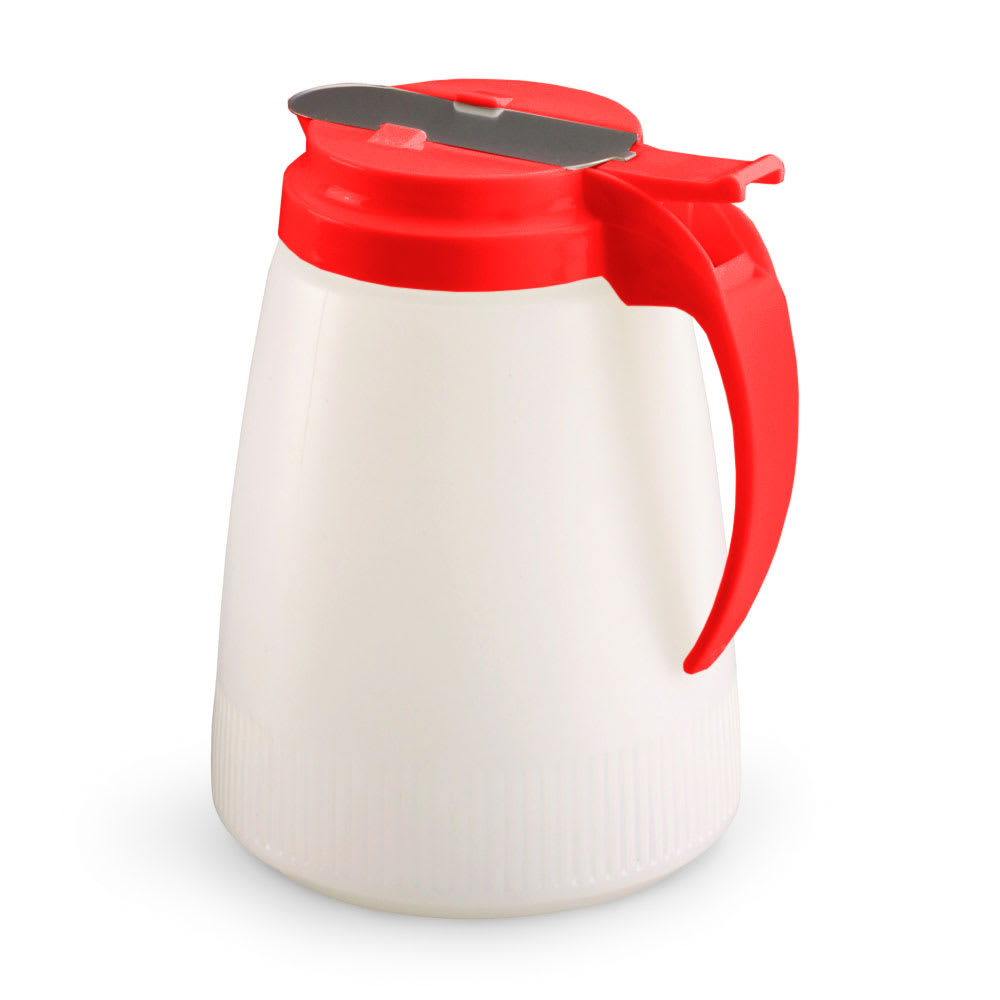 Vollrath 4748-02 48 oz Syrup Server - White Poly Jar, Red Plastic Top