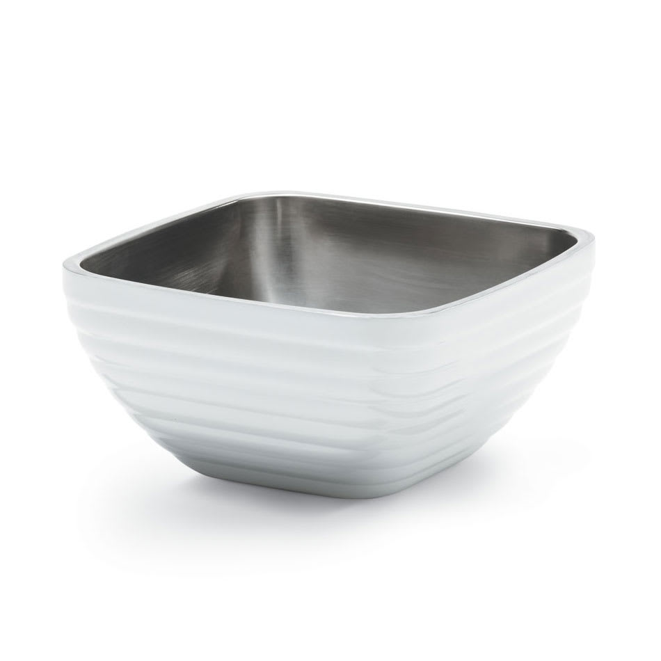 Vollrath 4761950 .75 qt Square Insulated Bowl - Stainless, Pearl White