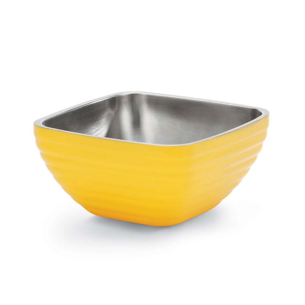 Vollrath 4763445 3.2 qt Square Insulated Bowl - Stainless, Nugget Yellow